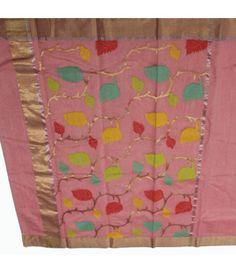 Pink Chanderi Handloom Silk Saree