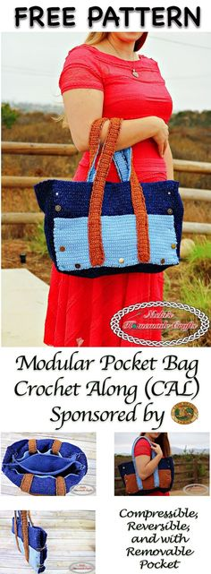 Modular Pocket Bag Crochet Along (CAL) - Free Crochet Pattern by Nicki's Homemade Crafts - sponsored by Lion Brand - Bag is reversible, compressible and has a removable pocket