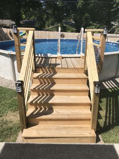 Above Ground Pool Stairs, Above Ground Pool Landscaping, Backyard Pool Landscaping, Landscaping Ideas, Above Ground Swimming Pools, Swimming Pools Backyard, In Ground Pools, Design Diy, Pool Deck Plans