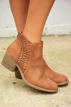 bb3463ccaed Cut To The Chase Booties  Cognac  shophopes