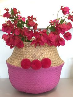 Straw Belly Basket with pompoms, Seagrass Storage Basket, Home and Nursery Decor, FREE WORLDWIDE SHIPPING