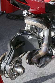 World Superbike Ducati 1199R.  Without rear wheel, to show the detail of the exhaust plumbing and geometry of the swingarm.