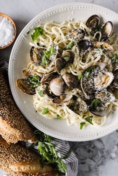 Champagne and Cream Clams with Linguini