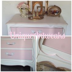 Details of a three drawer french provincial small dresser pained in Annie Sloan chalkpaint.