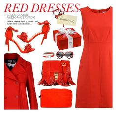 """Hot Red Dress"" by italist ❤ liked on Polyvore featuring Diane Von Furstenberg, Golden Goose, Steve Madden, Dsquared2, Alexander McQueen and Proenza Schouler"