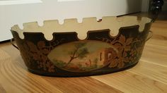Antique French Tole Hand Painted Planter Sku: by MyFrenchAffaire