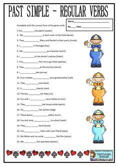 Past tense: Regular verbs worksheet Grammar For Kids, Teaching English Grammar, Grammar Lessons, English Vocabulary, Verbs In English, Grammar Exercises, English Exercises, English Worksheets For Kids, Verb Worksheets