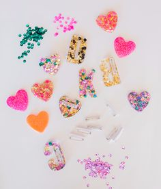Glitter Resin pins, a potential maker space activity -- material engineering, etc (via Oh Joy)