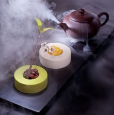 Hot tea served with two tea-flavored desserts - Thomas Trillion Pâtisserie