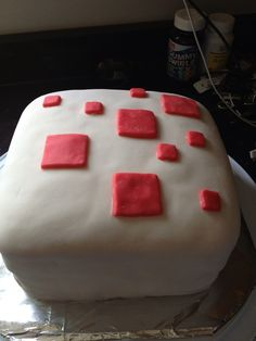 """Minecraft cake """"cake"""" for my son's Minecraft party"""