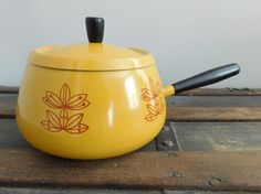 SALE 35% OFF - Retro Gold Stovetop Fondue Pot, Mid Century Kitchen, Harvest Gold Fondue