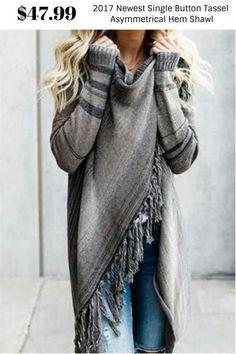 Newest Single Button Tassel Asymmetrical Hem Shawl $47.99  #DRESSES #TOPS #BOTTOMS #SWIMWEAR #SHOES #KIDS #PLUSSIZES #LINGERIE #ACCESSORIES #SALE #Bandage #Pencil #Maxi #Lace #Chiffon #Mini #Vintage #Evening #LongSleeves #Casual #T-shirt #Blouses #Sweatshirts #Hoodies #Sweaters #Cardigans #Outerwear #SuitSets #Bodysuit