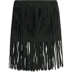 McQ Alexander McQueen Fringed Suede Mini Skirt ($245) ❤ liked on Polyvore featuring skirts, mini skirts, bottoms, black, mini skirt, fringe skirts, zipper skirt, short skirts and zipper mini skirt