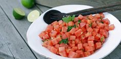 Melon med mynte og lime – Berit Nordstrand Salsa, Spicy, Lime, Mexican, Snacks, Ethnic Recipes, Food, Limes, Appetizers