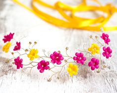 Floral crown Bright flower crown Pink hair accessory by ArsiArt, $53.00