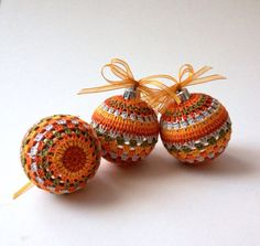Christmas Tree Decorations, 3 Crochet Baubles in Orange, Green, Burnt Orange Colour