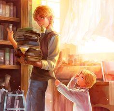 Hermanos en la biblioteca