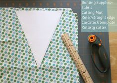 DIY Fabric Bunting - perfect for the bridge at the Yacht Club. Navy Blue / White Fabrics.