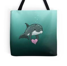 Dolphin Art / Cute / Love / Valentine Heart / Amber Marine Art