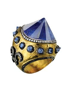 Ring | Sevan Bicakci.  This was one of the pieces that was included in the award-winning designs from the first international Tanzanite 'Celebration of Life' jewellery design awards competition in 2007. |This ring was inspired by the traditional Tales of One Thousand and One Nights.