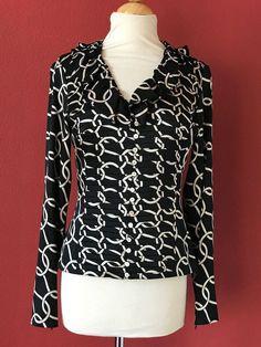 ETCETERA Black Beige Silk Blend Chain Print Button Front Career Work Top Size 2 #Etcetera #ButtonDownShirt #Career