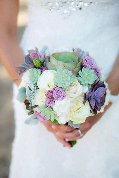 Succulent bouquet. Replace the purple roses with lavender.