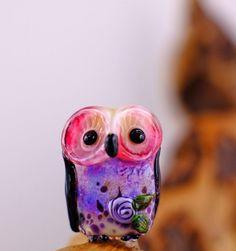 Maggie...... lampwork owl bead........ sra by DeniseAnnette