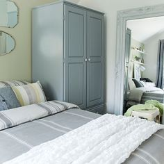 Gray And Green Bedroom Ideas modern pastel bedroom with geometric feature wall | bedroom