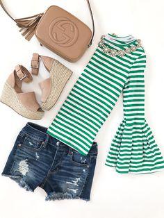 Green striped bell sleeve top, Gucci soho disco leather bag, Marc Fisher LTD Adalyne Platform Wedge, American Eagle tomgirl distressed denim shorts