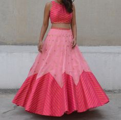 Two tone pink lehenga with zig zag lines - Priyal Prakash Summer 2016 collection