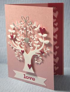 Memory Box dies- Tree of Wonder 98471, Precious Hearts 98474, Heart Delights 98280, Stamp- Love and Hearts B1423 from the Outside The Box blog