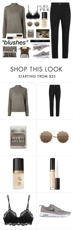 """Untitled #2749"" by tacoxcat ❤ liked on Polyvore featuring AG Adriano Goldschmied, KÉJI, Prada, Too Faced Cosmetics, Eberjey, NIKE and Christian Dior"