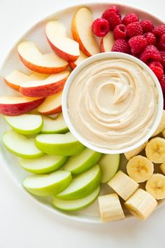Peanut Butter Fruit Dip - only 3 healthy ingredients and a few minutes prep. Love it!