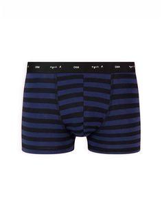 boxer homme bleu et noir à rayures Dim x agnès b. | agnès b. Fashion, Stripes, Blue, Black People, Moda, Fashion Styles, Fashion Illustrations