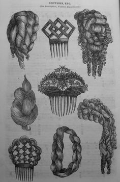 Victorian fashion illustration showing hair combs and false hair pieces to construct the huge and complex coiffures