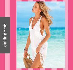 関税・送料込,セレブ愛用【Victoria's Secret】Tassel Cover-up ☆★☆ ビーチやリゾートにピッタリのカバーアップ ☆★☆スクープネック  タッセルデザインの裾がビーチでゆったりとリラックスした演出をします
