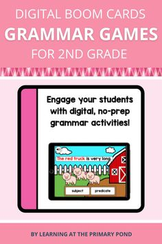 This is a set of digital activities for first grade grammar skills! These digital grammar activities will save you tons of time - no prep is required! Grammar Games, Grammar Skills, Grammar Activities, Phonemic Awareness Activities, Phonological Awareness, First Grade, Second Grade, Subject And Predicate, Tablet Computer