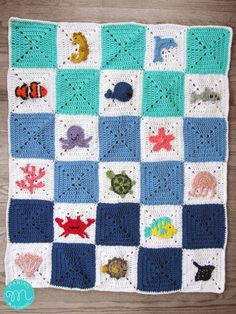 Ocean Granny Square Blanket - links to individual squares can be found.
