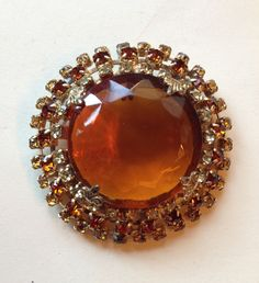 Vintage Topaz Facted, Amber Gray Rhinestone Round Brooch #Unbranded