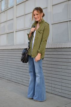 Forever 21 jacket & earrings, 7 For All Mankind jeans (old), Cuore and Pelle bag c/o I will ALWAYS be a huge fan of bell bottoms. Fall Jeans, Wide Leg Jeans, Bell Bottoms, Bell Bottom Jeans, Women Wear, Glamour, Female, Retro, Coat