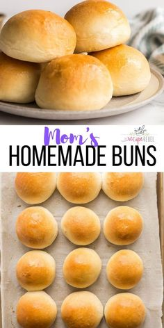 My Mom's Homemade Buns are the perfect dinner roll for any occasion! Incredibly soft and fluffy, use all purpose or whole wheat flour, make a big batch and freeze for later. Homemade Bread Buns, Homemade Hamburger Buns, Homemade Dinner Rolls, Homemade Hamburgers, Dinner Rolls Recipe, Homemade Yeast Rolls, Fluffy Dinner Rolls, Homemade Pasta, Brot