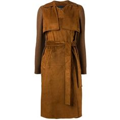 Derek Lam panelled midi coat featuring polyvore, fashion, clothing, outerwear, coats, brown, derek lam coat, derek lam, belted coat, long sleeve coat and calf length coat
