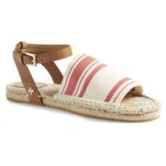 Tory Burch Espadrille Flat Sandals NWOT never worn! Brand new purchased from Nordstroms. Sold out at Nordstroms, Bloomingdales and saks. Perfect for summer! Small sharpie mark on bottom of shoe, will disappear after one day of wear. Tory Burch Shoes Sandals
