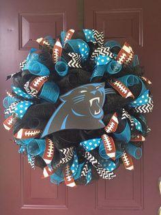 Carolina Panthers Football Deco Mesh by BeccasFrontDoorDecor Football Crafts, Football Wreath, Carolina Panthers Football, Nc Panthers, Panther Football, Panther Nation, Sports Wreaths, Diy Wreath, Wreath Making