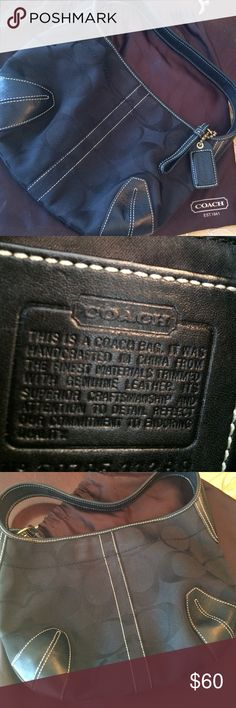 Authentic Coach Bag w Dust Cover Small Coach bag w leather corners & strap. Comes w dust bag Coach Bags