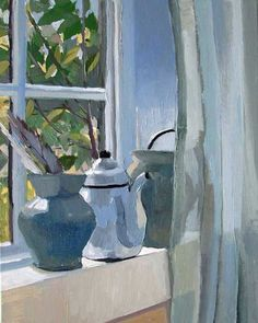 Pots On Windowsill - Carole Rabe - Fine Artist in Painting Painting Still Life, Still Life Art, Window Art, Beautiful Paintings, Painting Inspiration, Landscape Paintings, Contemporary Art, Illustrations, Fine Art
