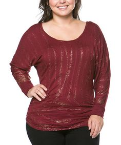 Burgundy & Gold Stripe Dolman Top - Plus #zulily #zulilyfinds