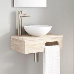 Dell Teak Wall-Mount Vessel Bathroom Vanity with Towel Bar, Whitewash - Signature Hardware 927783 Corner Sink Bathroom, Floating Bathroom Vanities, Bathroom Sink Vanity, Bathroom Cabinets, Bathroom Laundry, Bathroom Furniture, Bathroom Interior, Modern Bathroom, Bathroom Ideas