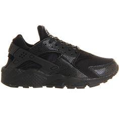 Nike Air Huarache Black White Lizard ($120) ❤ liked on Polyvore featuring shoes, sneakers, nike, huaraches, lizard footwear, black and white shoes, nike trainers and nike sneakers
