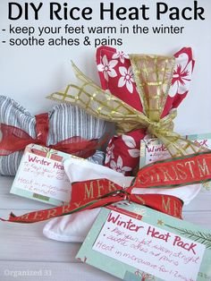 Sewing Gifts A DIY craft - Rice Heat Packs - An easy sewing project to give as frugal gifts. - Make your own DIY rice heat pack using recycled clothing items. The heat pack will keep you warm in the winter and soothe aches and pains. Easy Sewing Projects, Sewing Projects For Beginners, Sewing Crafts, Craft Projects, Sewing Tips, Christmas Sewing Projects, Sewing Basics, Craft Tutorials, Fabric Crafts